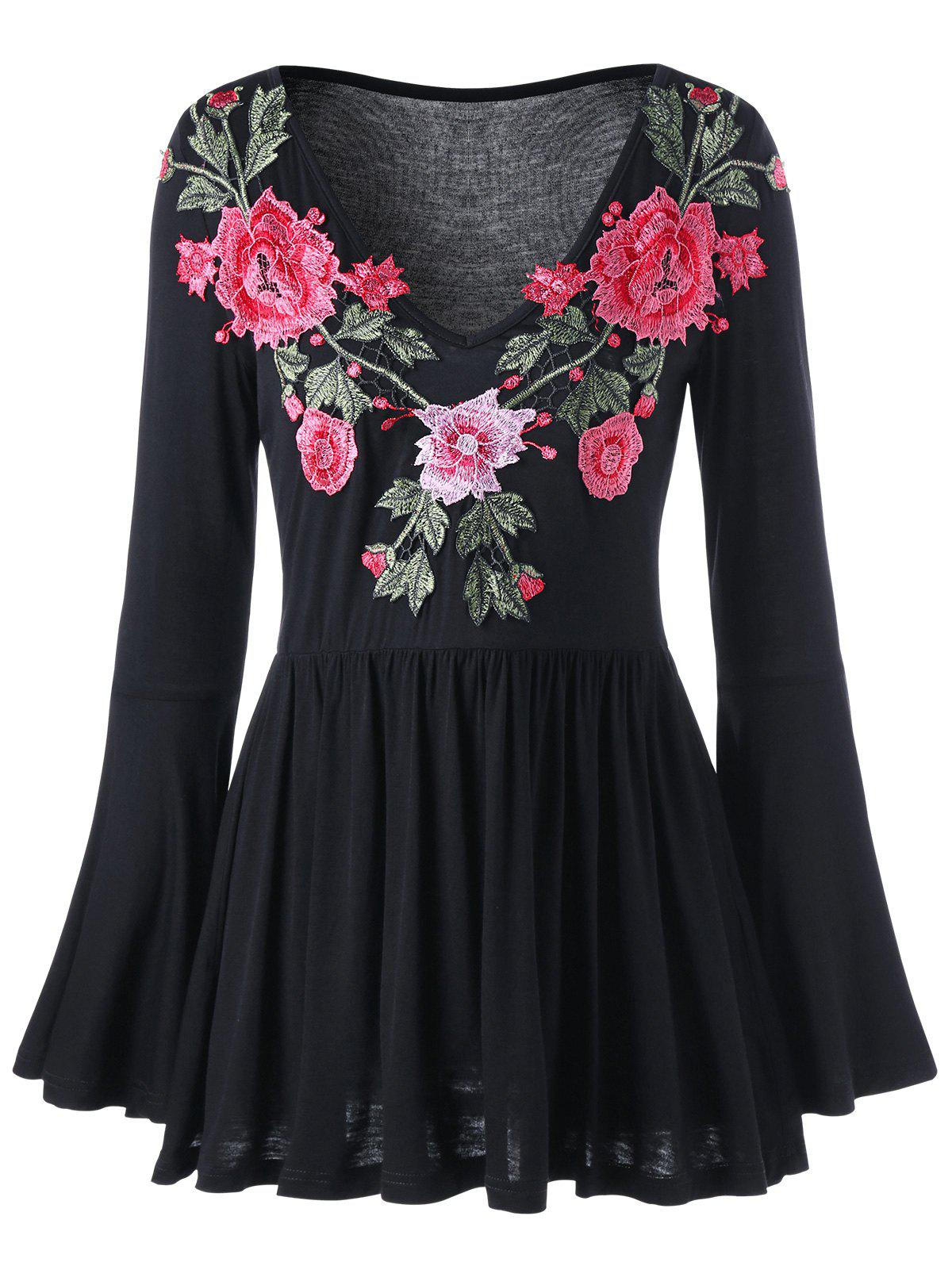 Embroidered Bell Sleeve Peplum BlouseWOMEN<br><br>Size: L; Color: BLACK; Style: Fashion; Material: Polyester,Spandex; Shirt Length: Long; Sleeve Length: Full; Sleeve Type: Flare Sleeve; Collar: V-Neck; Pattern Type: Floral; Embellishment: Embroidery; Season: Fall,Spring; Weight: 0.3000kg; Package Contents: 1 x Blouse;