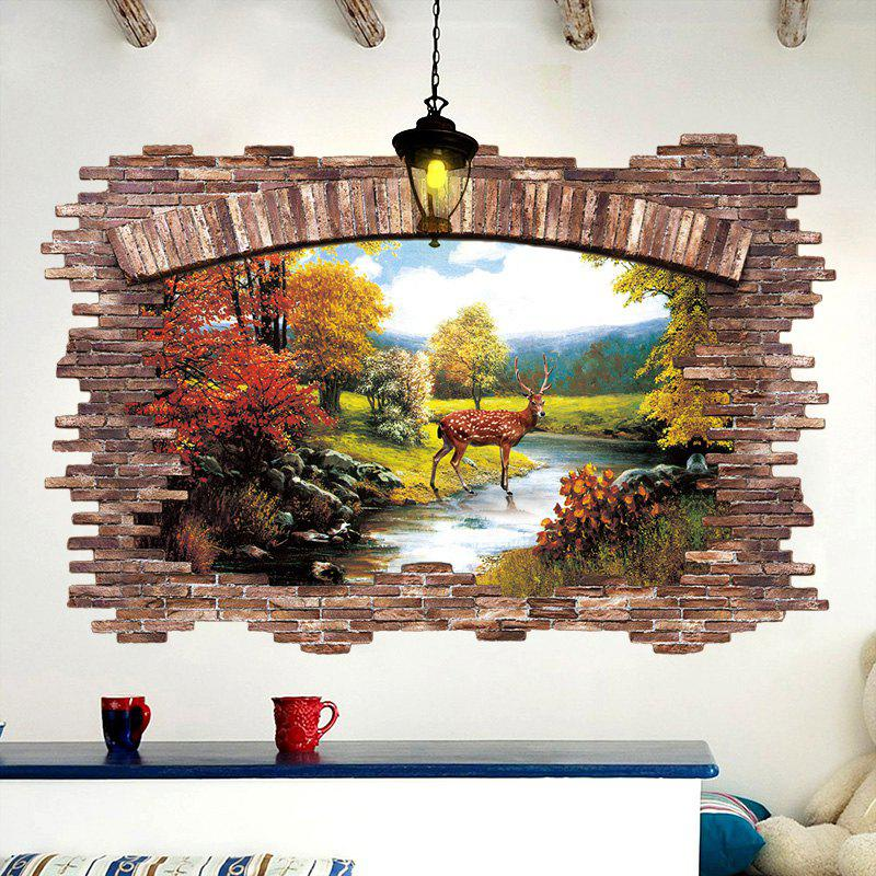 Stream Deer 3D Broken Wall Art Sticker For BedroomHOME<br><br>Size: 60*90CM; Color: COLORMIX; Wall Sticker Type: 3D Wall Stickers; Functions: Decorative Wall Stickers; Theme: Animals; Pattern Type: Animal; Material: PVC; Feature: Removable; Weight: 0.2511kg; Package Contents: 1 x Wall Sticker;