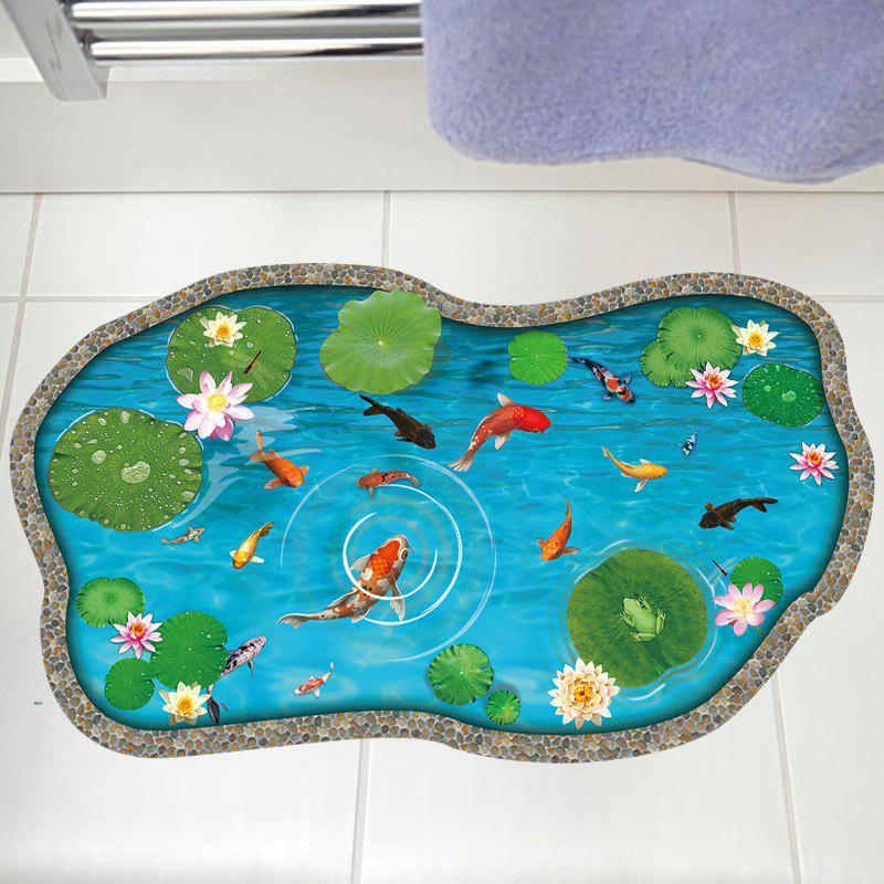 Lotus Pond Fish 3D Floor Sticker For BedroomHOME<br><br>Size: 60*90CM; Color: LAKE BLUE; Wall Sticker Type: 3D Wall Stickers; Functions: Decorative Wall Stickers; Theme: Animals; Pattern Type: 3D,Animal,Floral; Material: PVC; Feature: Removable; Weight: 0.3100kg; Package Contents: 1 x Wall Sticker;