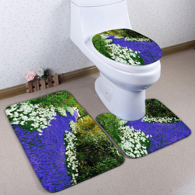 Affordable Flower Field Scenery 3Pcs Flannel Bath Toilet Mats Set