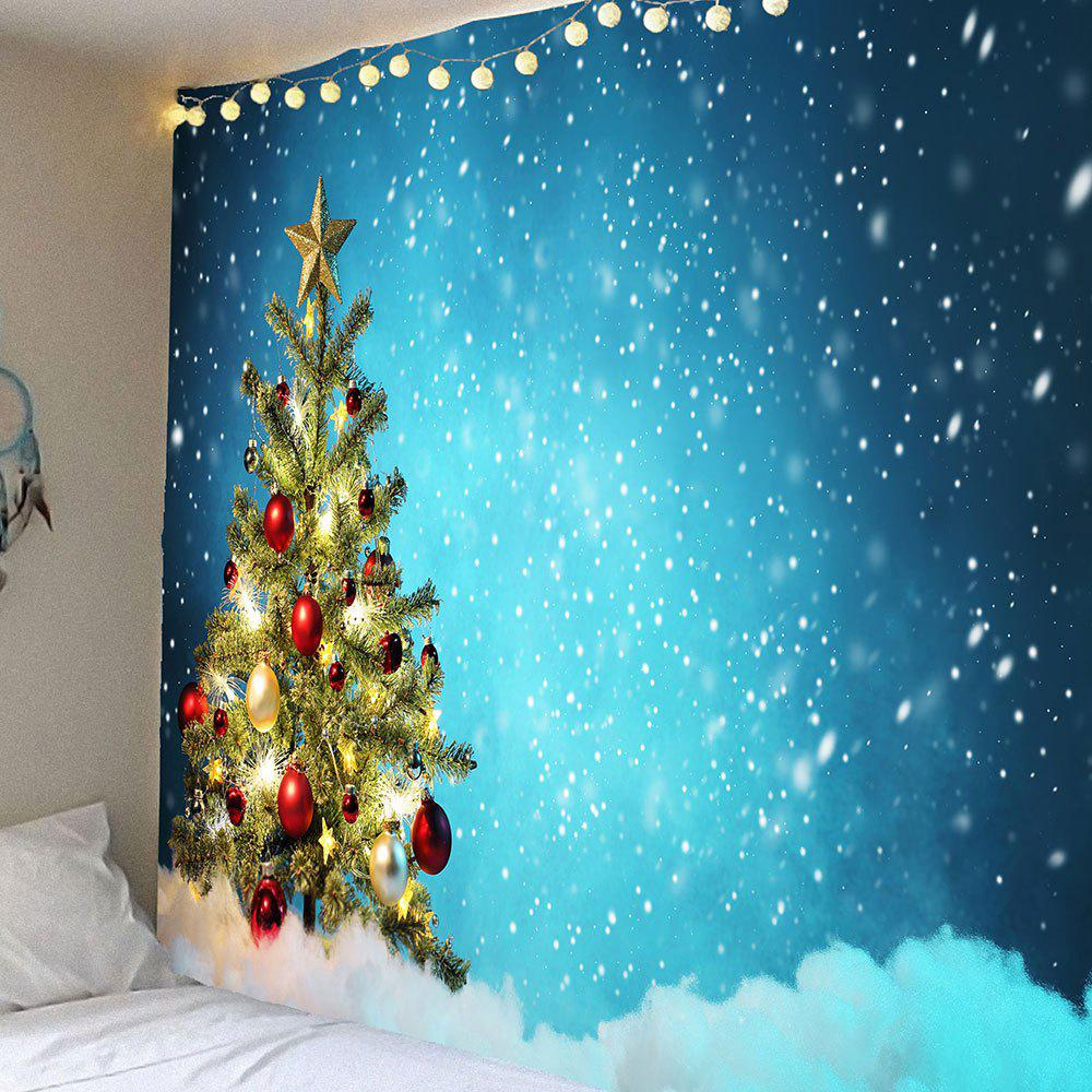 Christmas Tree and Snows Printed Waterproof Wall Art TapestryHOME<br><br>Size: W91 INCH * L71 INCH; Color: BLUE; Style: Festival; Material: Velvet; Feature: Removable,Washable,Waterproof; Shape/Pattern: Print; Weight: 0.4200kg; Package Contents: 1 x Tapestry;