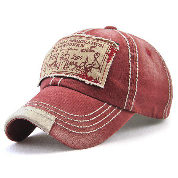 Bahamas Handwritten Letters Applique Baseball HatACCESSORIES<br><br>Color: WINE RED; Hat Type: Baseball Caps; Group: Adult; Gender: For Men; Style: Fashion; Pattern Type: Letter; Material: Polyester; Circumference (CM): 56CM-59CM; Weight: 0.1500kg; Package Contents: 1 x Hat;