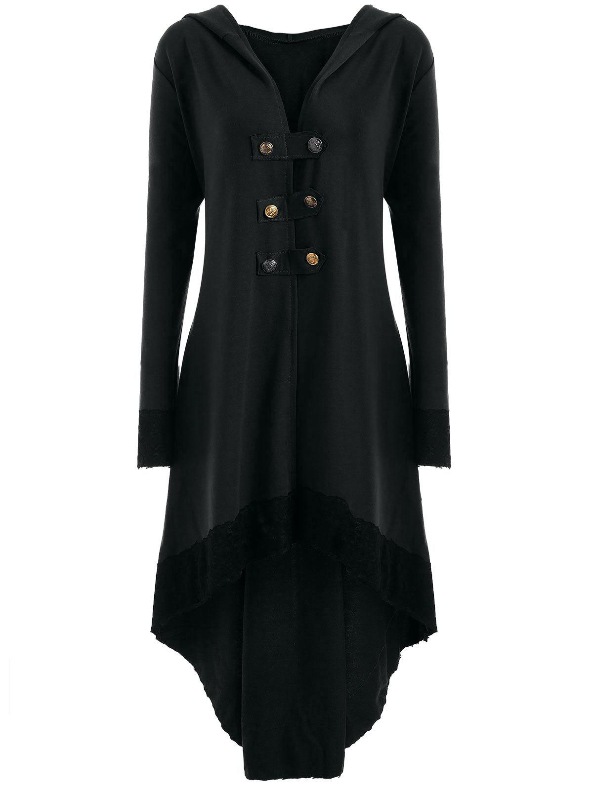 High Low Hooded Plus Size Lace-up CoatWOMEN<br><br>Size: 5XL; Color: BLACK; Clothes Type: Others; Material: Polyester,Spandex; Type: Asymmetric Length; Shirt Length: Long; Sleeve Length: Full; Collar: Hooded; Pattern Type: Solid; Style: Fashion; Season: Fall,Spring; Weight: 0.6200kg; Package Contents: 1 x Coat;