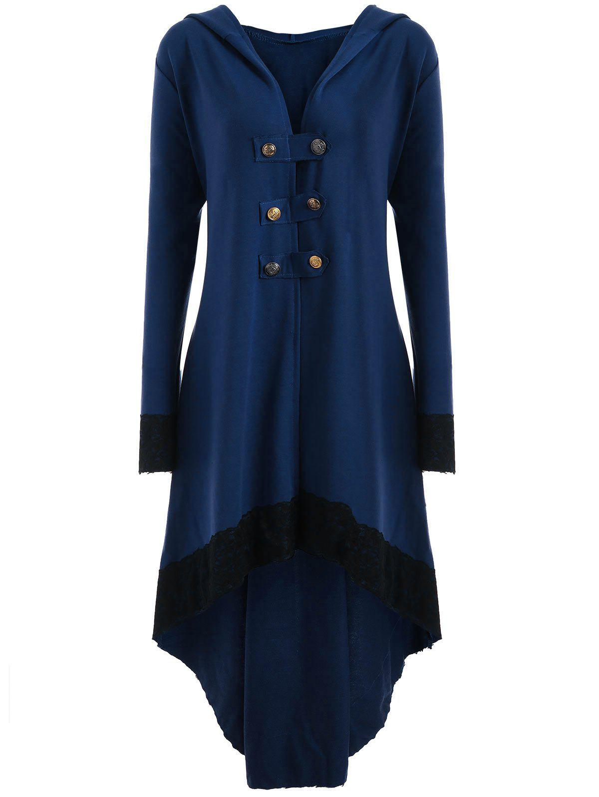 High Low Hooded Plus Size Lace-up CoatWOMEN<br><br>Size: 5XL; Color: BLUE; Clothes Type: Others; Material: Polyester,Spandex; Type: Asymmetric Length; Shirt Length: Long; Sleeve Length: Full; Collar: Hooded; Pattern Type: Solid; Style: Fashion; Season: Fall,Spring; Weight: 0.6200kg; Package Contents: 1 x Coat;