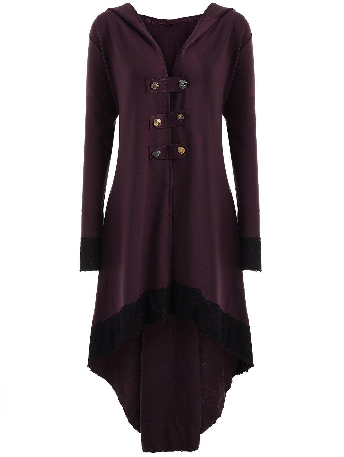 High Low Hooded Plus Size Lace-up CoatWOMEN<br><br>Size: 3XL; Color: WINE RED; Clothes Type: Others; Material: Polyester,Spandex; Type: Asymmetric Length; Shirt Length: Long; Sleeve Length: Full; Collar: Hooded; Pattern Type: Solid; Style: Fashion; Season: Fall,Spring; Weight: 0.6200kg; Package Contents: 1 x Coat;