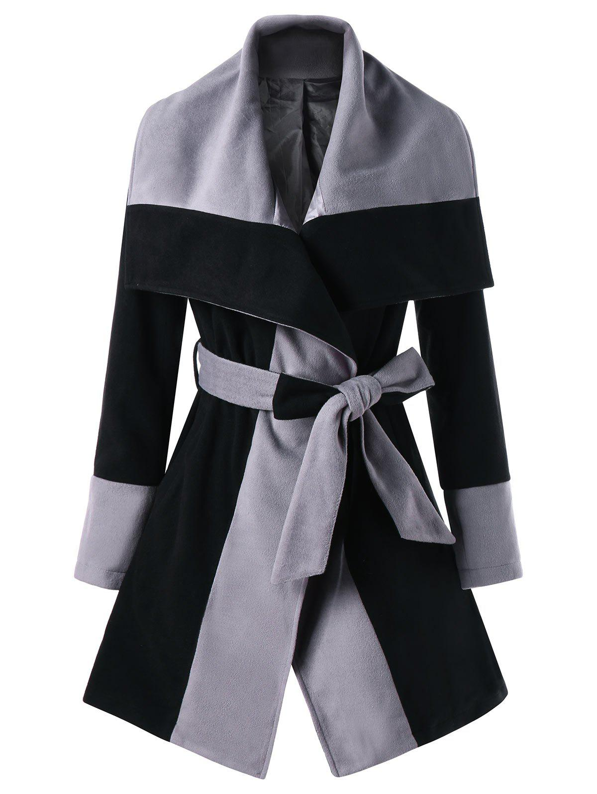 Wrap Color Block Lapel CoatWOMEN<br><br>Size: L; Color: BLACK AND GREY; Clothes Type: Others; Material: Polyester; Type: Wide-waisted; Shirt Length: Long; Sleeve Length: Full; Collar: Lapel; Pattern Type: Others; Style: Casual; Season: Fall,Winter; Weight: 0.8980kg; Package Contents: 1 x Coat;