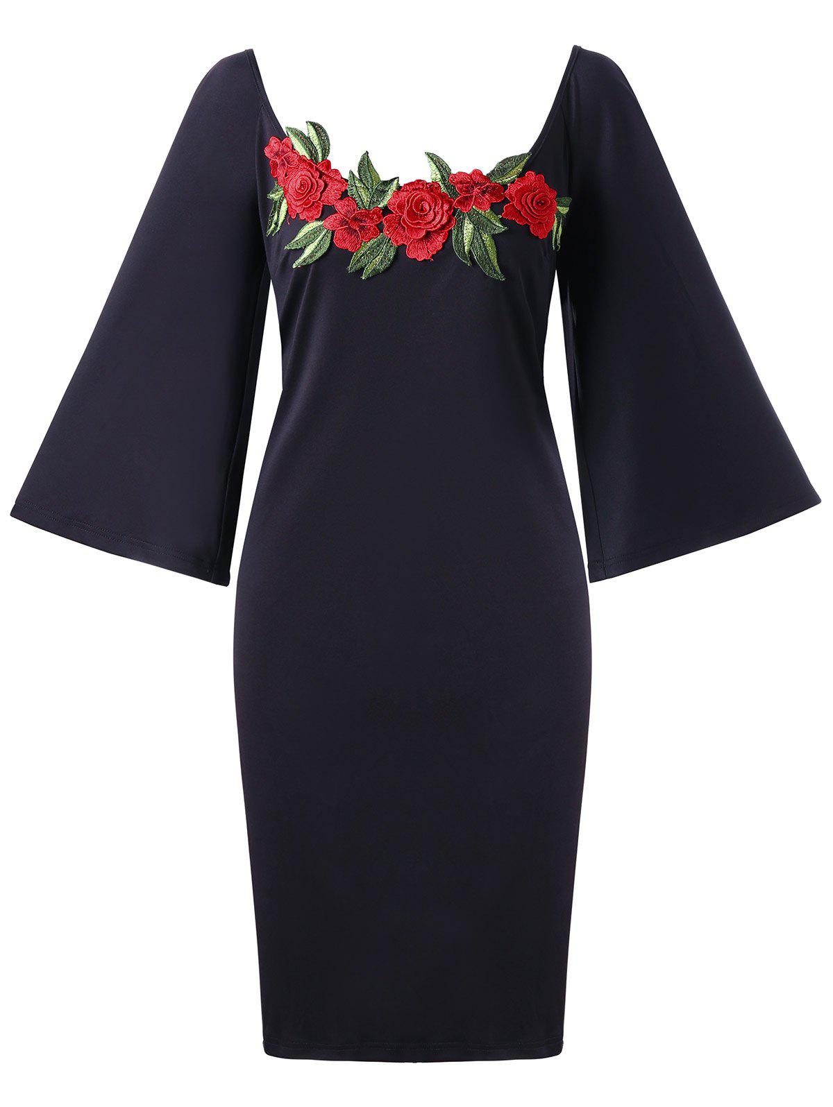 Flare Sleeve Plus Size Embroidery Bodycon DressWOMEN<br><br>Size: 3XL; Color: BLACK; Style: Brief; Material: Polyester,Spandex; Silhouette: Bodycon; Dresses Length: Knee-Length; Neckline: Scoop Neck; Sleeve Length: 3/4 Length Sleeves; Embellishment: Embroidery; Pattern Type: Solid; With Belt: No; Season: Fall,Spring; Weight: 0.3670kg; Package Contents: 1 x Dress;