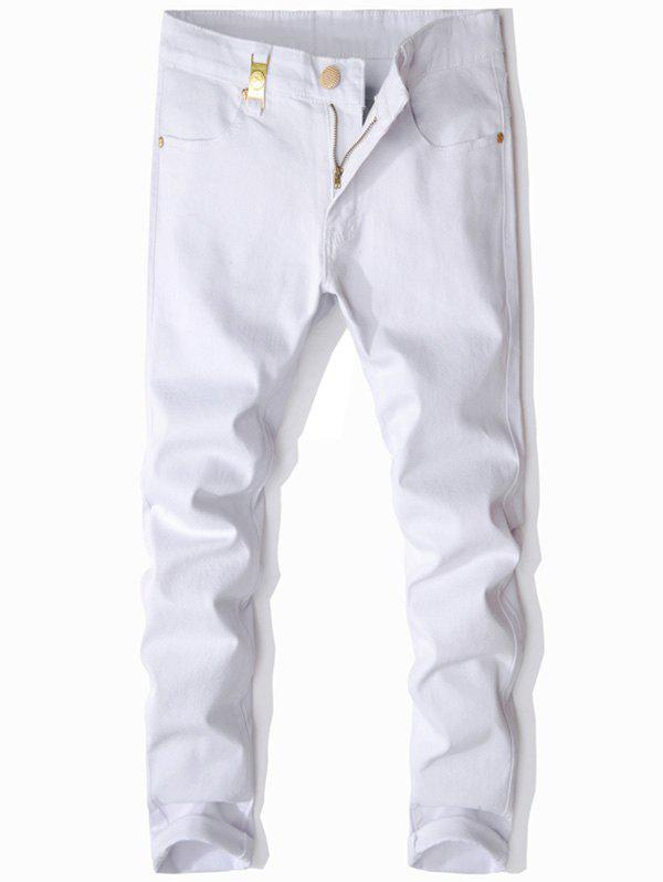Metal Embellished Zip Fly Slim Fit JeansMEN<br><br>Size: 36; Color: WHITE; Material: Cotton,Polyester; Pant Length: Long Pants; Wash: Colored; Fit Type: Regular; Waist Type: Mid; Closure Type: Zipper Fly; Weight: 0.6500kg; Package Contents: 1 x Jeans; With Belt: No;