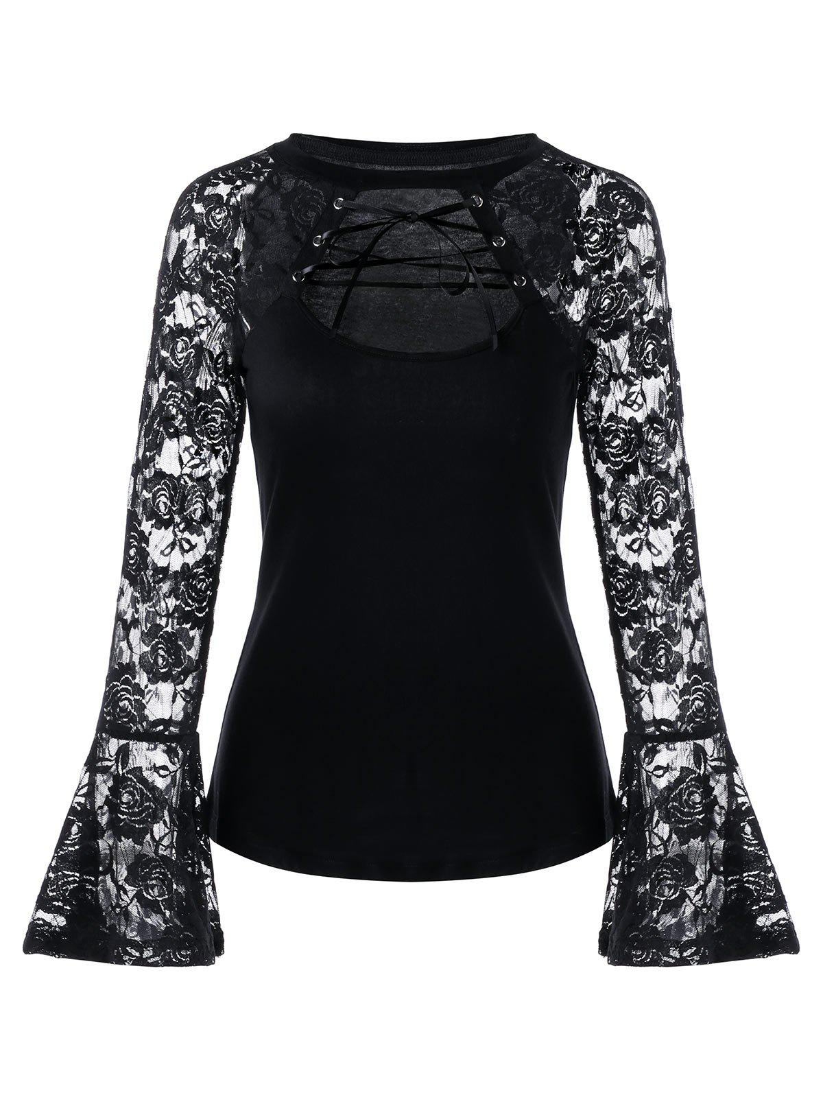 Cut Out Lace-up Flare Sleeve Lace TopWOMEN<br><br>Size: L; Color: BLACK; Material: Cotton,Cotton Blends; Shirt Length: Regular; Sleeve Length: Full; Collar: Round Neck; Style: Fashion; Pattern Type: Solid; Season: Fall,Spring; Weight: 0.2060kg; Package Contents: 1 x Top;
