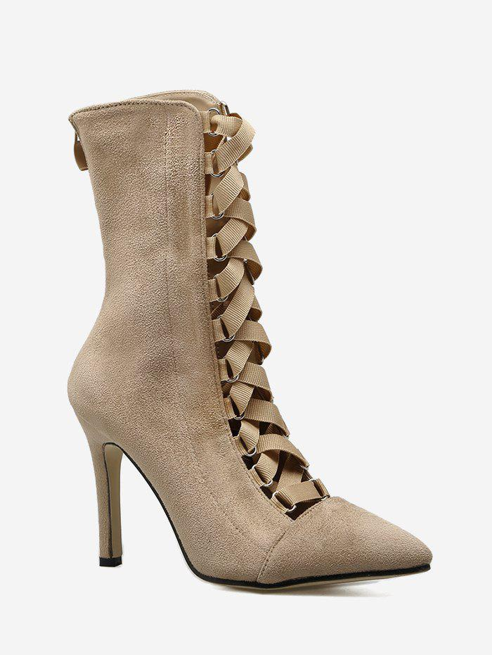 Shop Cross Strap Pointed Toe Stiletto Mid Calf Boots