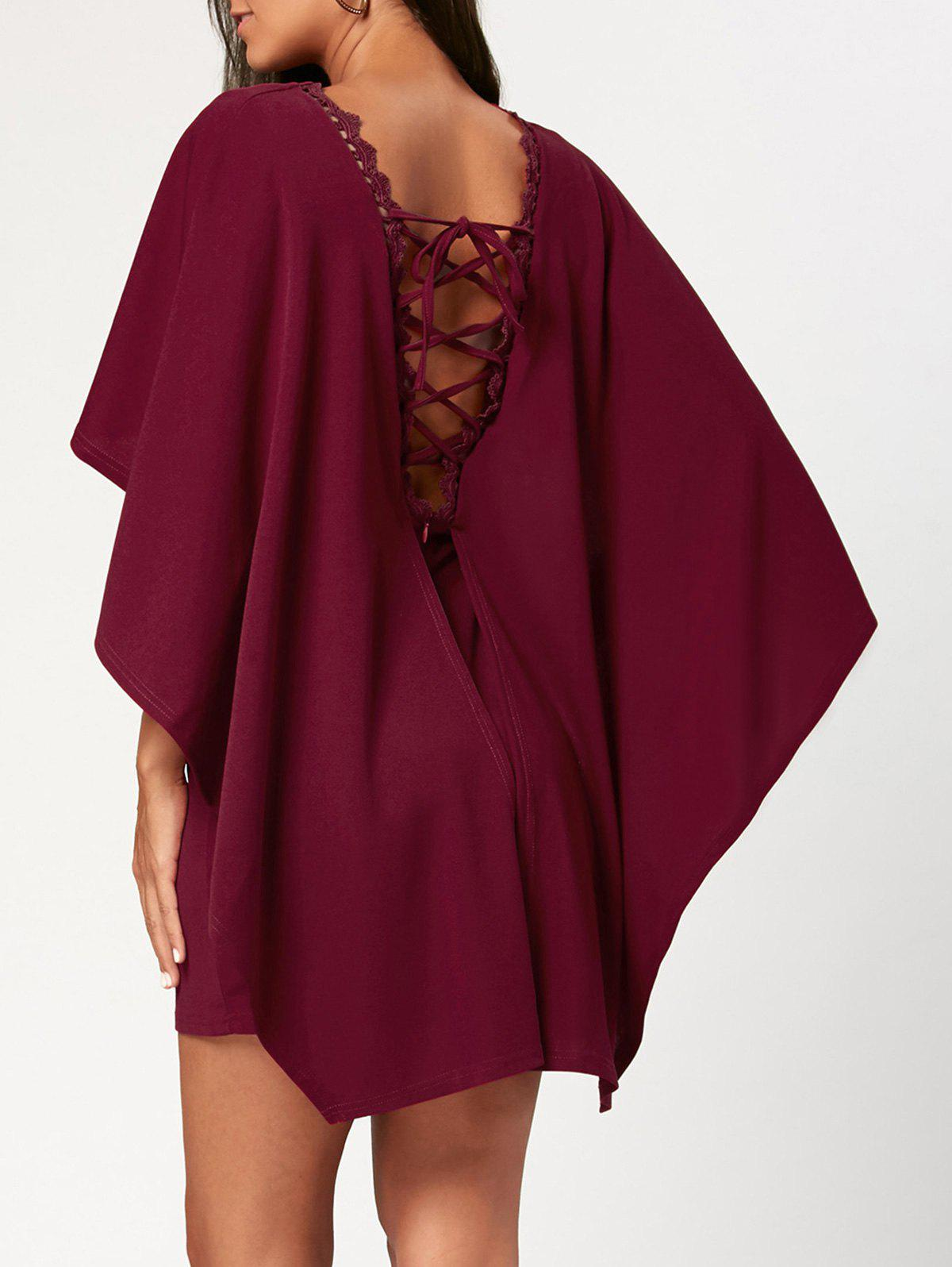 Criss Cross Cutout Backless Short Cape DressWOMEN<br><br>Size: XL; Color: WINE RED; Style: Brief; Material: Polyester; Silhouette: Sheath; Dress Type: Cape Dress; Dresses Length: Mini; Neckline: Round Collar; Sleeve Length: Half Sleeves; Waist: Natural; Embellishment: Criss-Cross; Pattern Type: Solid Color; Elasticity: Micro-elastic; With Belt: No; Season: Fall,Spring; Weight: 0.4600kg; Package Contents: 1 x Dress; Occasion: Casual ,Club,Night Out,Outdoor,Party,Semi Formal,Wedding;