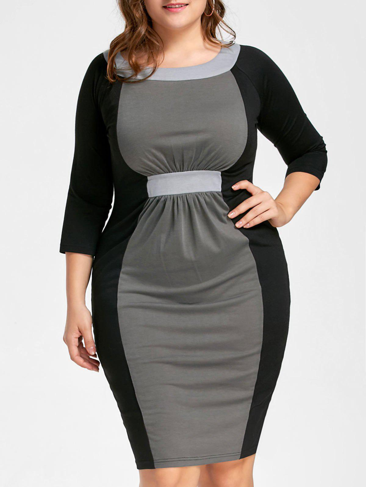 Color Block Plus Size Bodycon DressWOMEN<br><br>Size: 3XL; Color: BLACK AND GREY; Style: Brief; Material: Polyester,Spandex; Silhouette: Bodycon; Dresses Length: Knee-Length; Neckline: Round Collar; Sleeve Length: 3/4 Length Sleeves; Pattern Type: Patchwork; With Belt: No; Season: Fall,Spring; Weight: 0.3200kg; Package Contents: 1 x Dress;