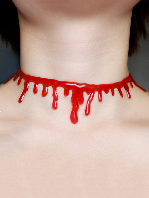 Halloween Plastic Blood Choker NecklaceJEWELRY<br><br>Color: RED; Item Type: Chokers Necklace; Gender: Unisex; Style: Gothic; Shape/Pattern: Solid; Length: 38CM; Weight: 0.0300kg; Package Contents: 1 x Choker Necklace;
