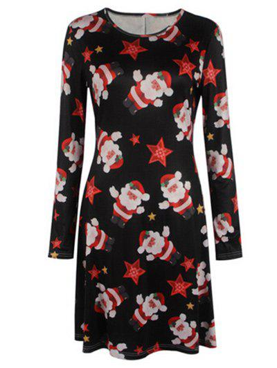 Christmas Santa Swing DressWOMEN<br><br>Size: S; Color: BLACK; Style: Casual; Material: Polyester; Silhouette: A-Line; Dress Type: Swing Dress,Tee Dress; Dresses Length: Mini; Neckline: Jewel Neck; Sleeve Length: Long Sleeves; Pattern Type: Print; With Belt: No; Season: Fall,Spring; Weight: 0.2600kg; Package Contents: 1 x Dress; Occasion: Casual;