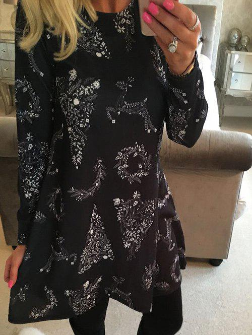 Christmas Swing DressWOMEN<br><br>Size: L; Color: BLACK; Style: Casual; Material: Polyester; Silhouette: A-Line; Dress Type: Swing Dress,Tee Dress; Dresses Length: Mini; Neckline: Round Collar; Sleeve Length: Long Sleeves; Pattern Type: Print; With Belt: No; Season: Fall,Spring; Weight: 0.2600kg; Package Contents: 1 x Dress; Occasion: Casual;