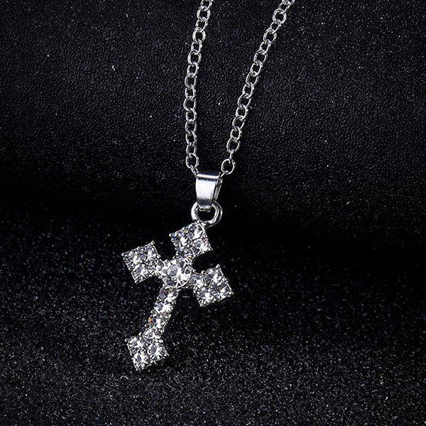 Tiny Rhinestone Crucifix Charm NecklaceJEWELRY<br><br>Color: SILVER; Item Type: Pendant Necklace; Gender: For Women; Necklace Type: Link Chain; Style: Trendy; Shape/Pattern: Cross; Length: 45CM; Weight: 0.0300kg; Package Contents: 1 x Necklace;