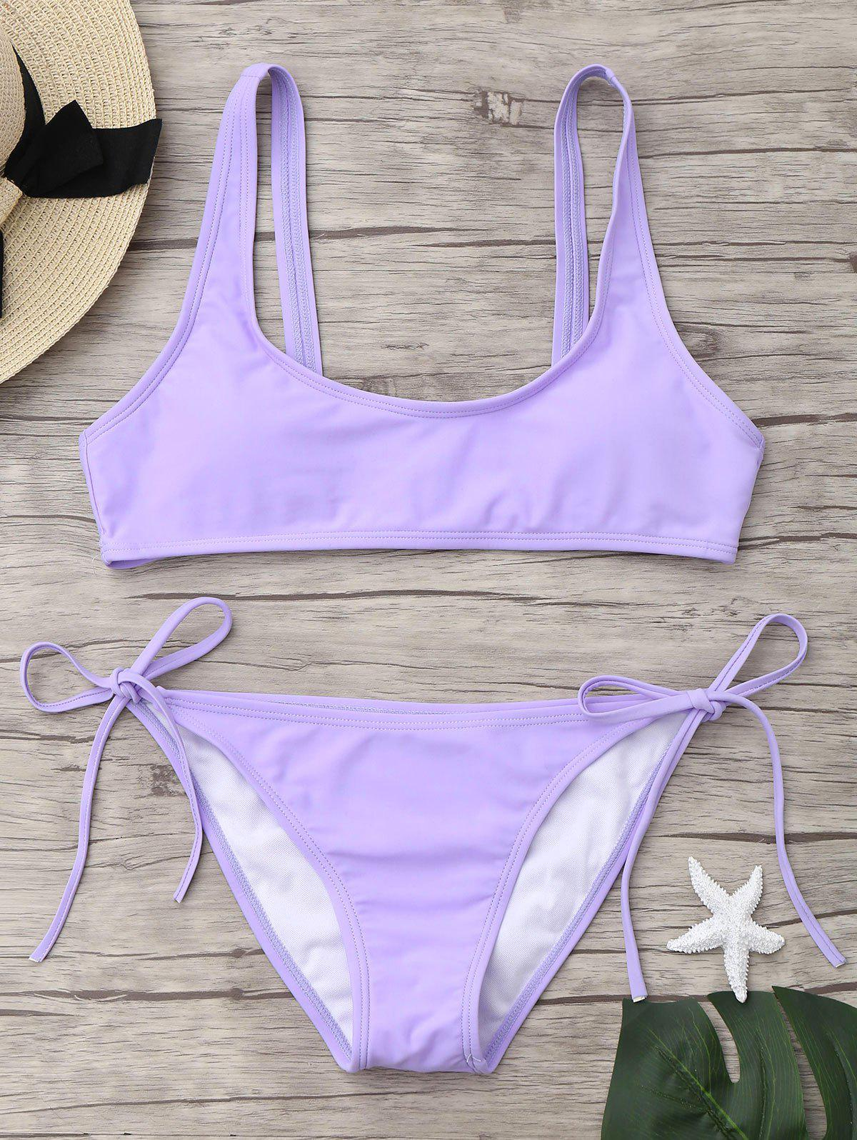 U Neck Tie Side Bikini SwimwearWOMEN<br><br>Size: M; Color: LIGHT PURPLE; Swimwear Type: Bikini; Gender: For Women; Material: Nylon,Spandex; Bra Style: Padded; Support Type: Wire Free; Neckline: U Neck; Pattern Type: Solid Color; Waist: Low Waisted; Elasticity: Elastic; Weight: 0.2700kg; Package Contents: 1 x Bra  1 x Panties;