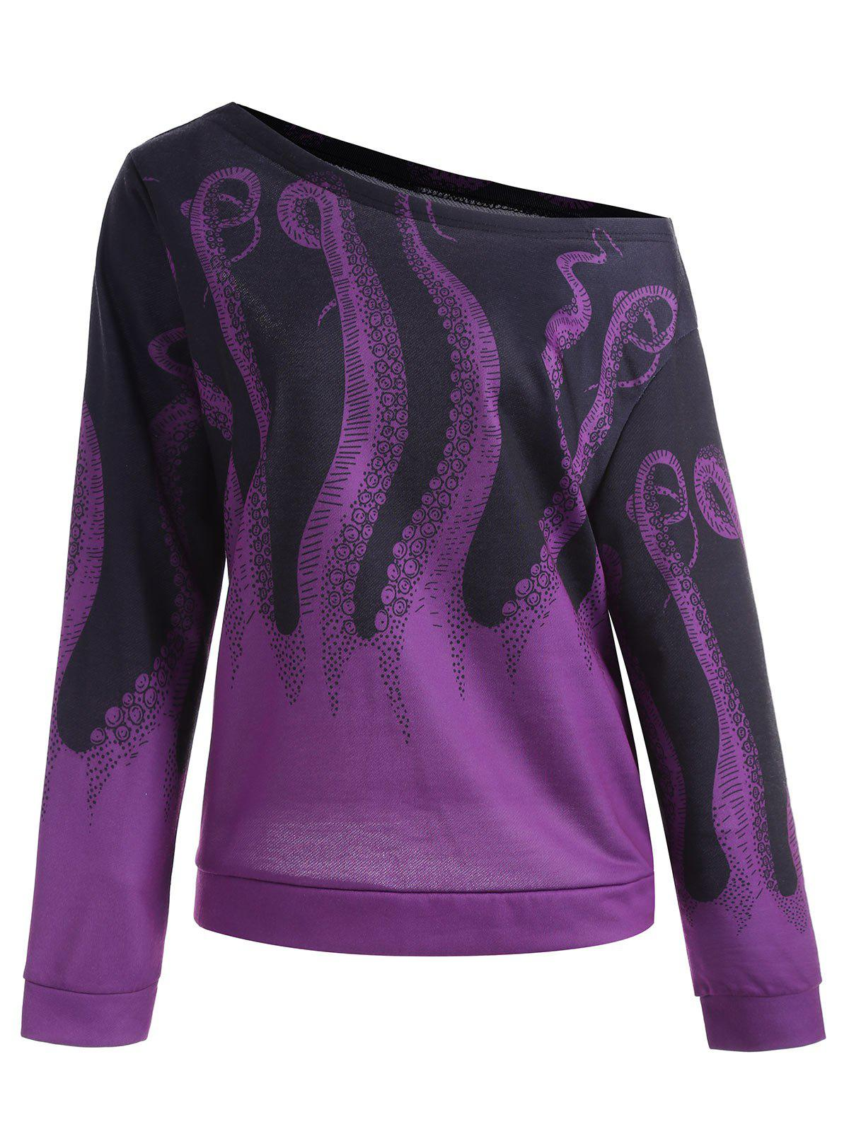 Octopus Printed Plus Size SweatshirtWOMEN<br><br>Size: 5XL; Color: PURPLE; Material: Cotton,Polyester; Shirt Length: Regular; Sleeve Length: Full; Style: Fashion; Pattern Style: Animal; Season: Fall; Weight: 0.4100kg; Package Contents: 1 x Sweatshirt;