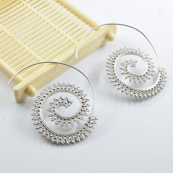 Statement Alloy Circle EarringsJEWELRY<br><br>Color: SILVER; Earring Type: Drop Earrings; Gender: For Women; Metal Type: Alloy; Style: Trendy; Shape/Pattern: Round; Weight: 0.0300kg; Package Contents: 1 x Earring (Pair);