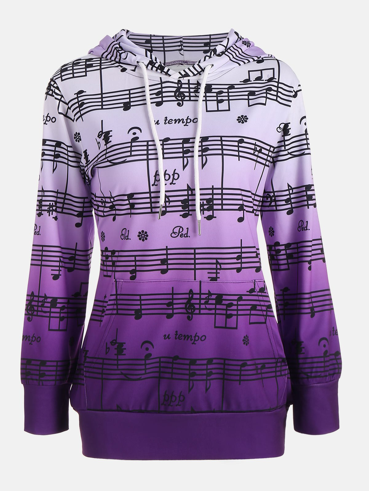 Musical Notes Print Ombre Kangaroo HoodieWOMEN<br><br>Size: M; Color: PURPLE; Material: Polyester; Shirt Length: Regular; Sleeve Length: Full; Style: Fashion; Pattern Style: Print; Elasticity: Elastic; Season: Fall,Spring,Winter; Weight: 0.4700kg; Package Contents: 1 x Hoodie;