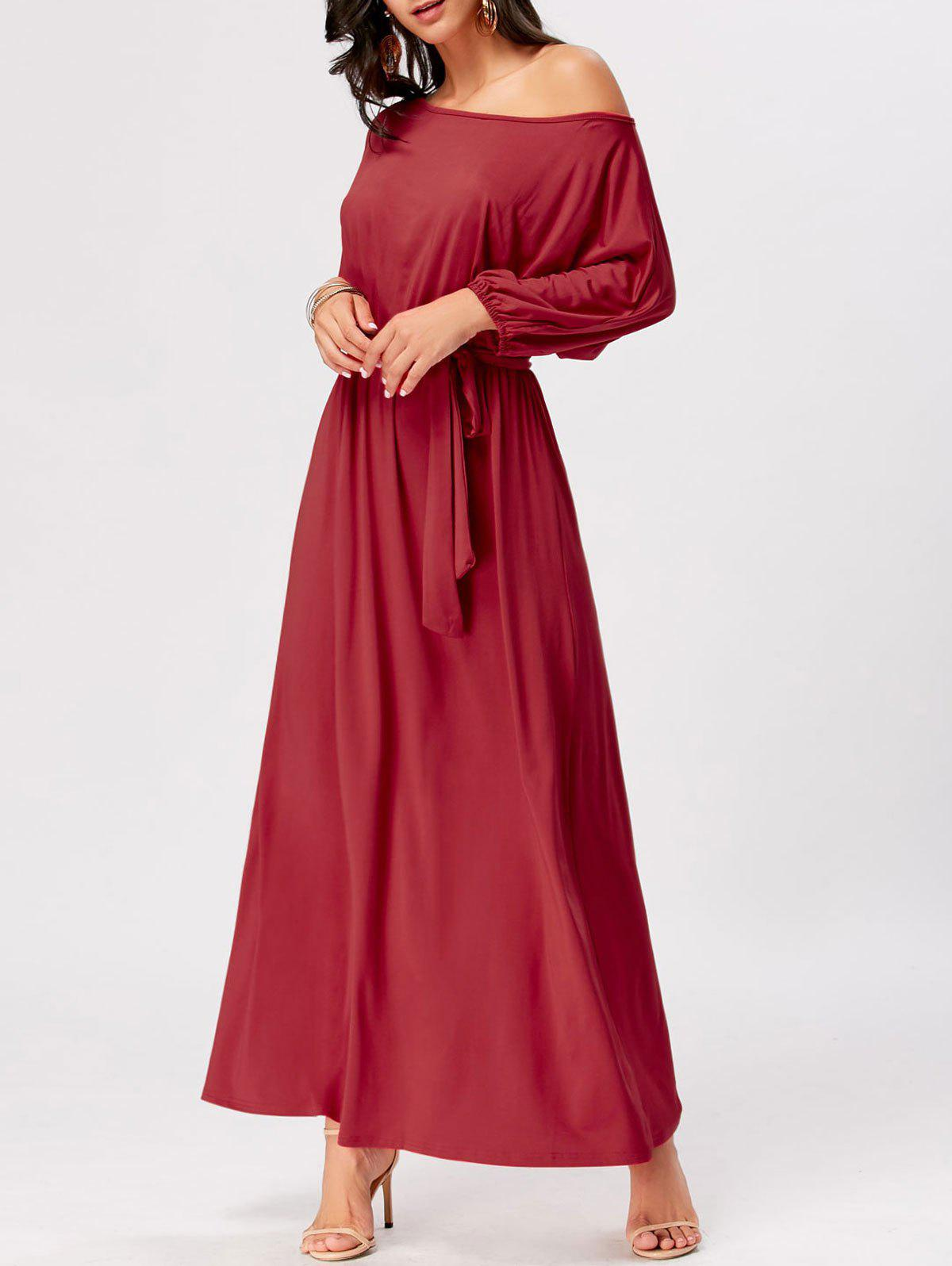 Fancy Boat Neck Maxi Party Dress