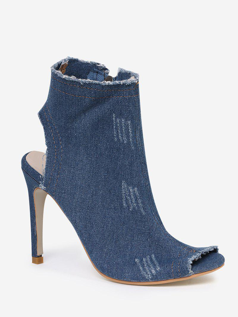 Peep Toe Denim Zipper Ankle Boots