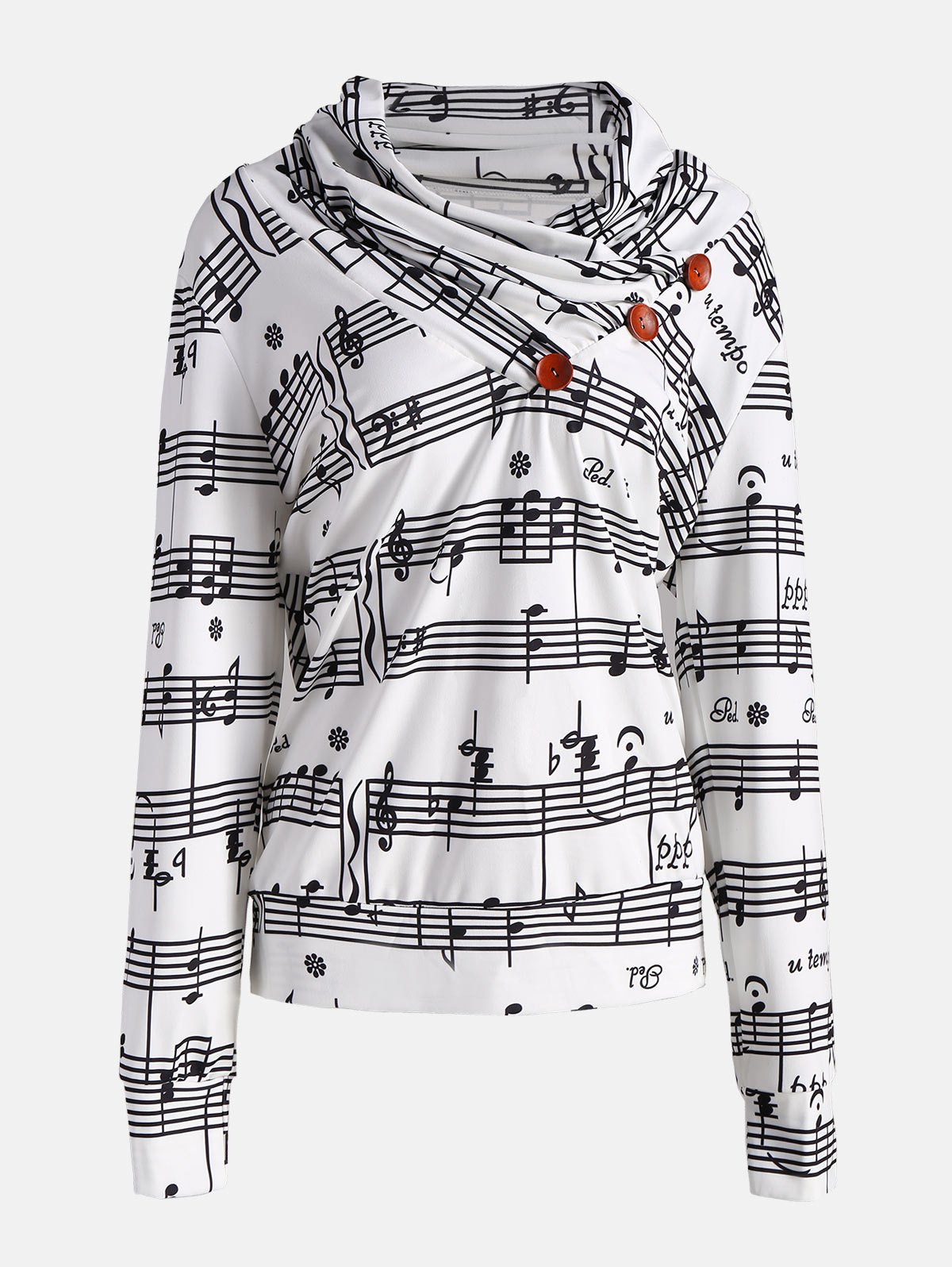 Cowl Neck Musical Notes Print SweatshirtWOMEN<br><br>Size: M; Color: WHITE AND BLACK; Material: Polyester,Spandex; Shirt Length: Regular; Sleeve Length: Full; Style: Fashion; Pattern Style: Print; Elasticity: Elastic; Season: Fall,Spring,Winter; Weight: 0.4400kg; Package Contents: 1 x Sweatshirt;