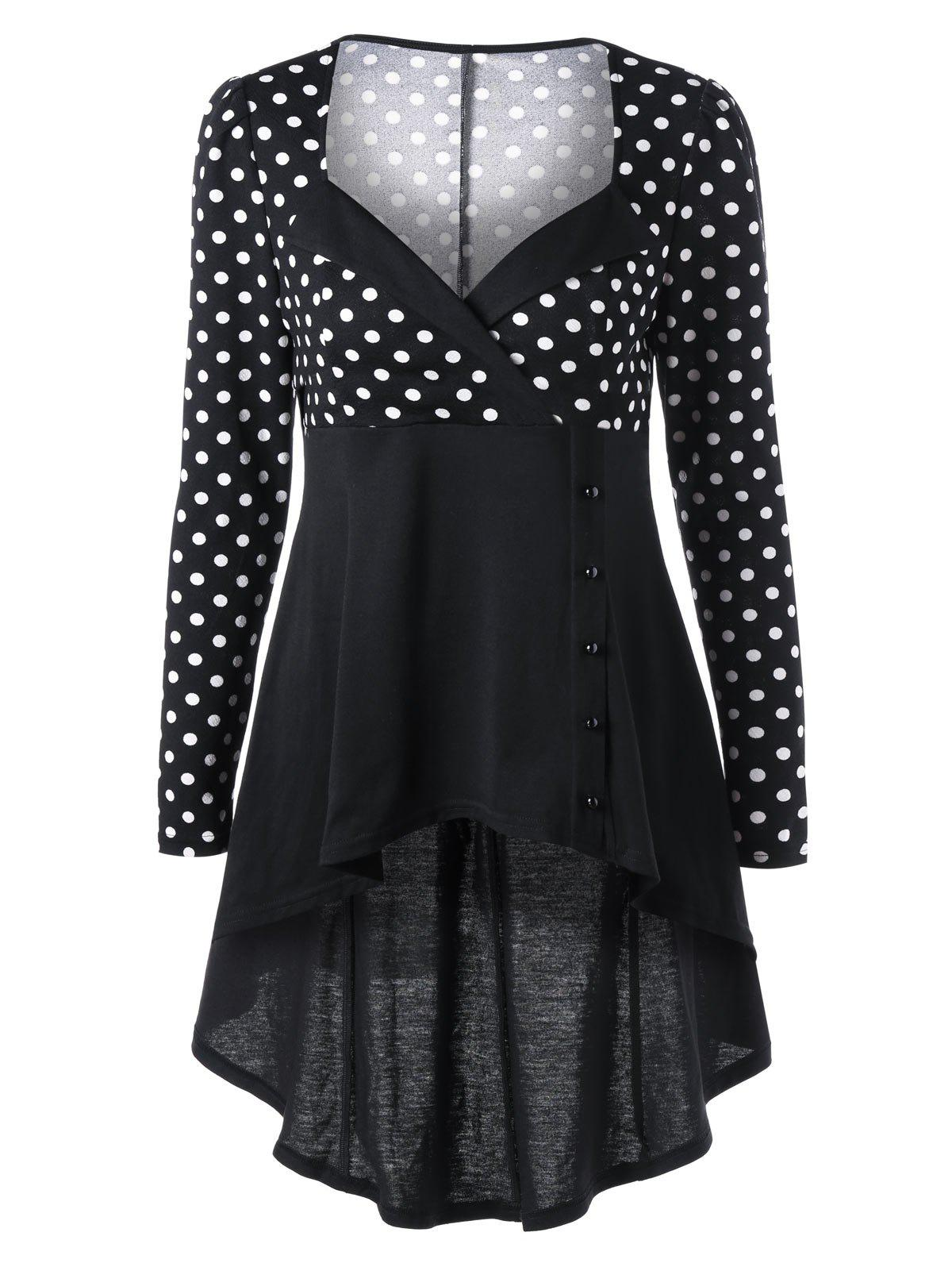 Sweetheart Neck Polka Dot Longline Cocktail TopWOMEN<br><br>Size: M; Color: BLACK WHITE; Material: Polyester,Spandex; Shirt Length: Long; Sleeve Length: Full; Collar: Sweetheart Neck; Style: Vintage; Embellishment: Button; Pattern Type: Polka Dot; Season: Fall,Spring; Weight: 0.3100kg; Package Contents: 1 x Top;