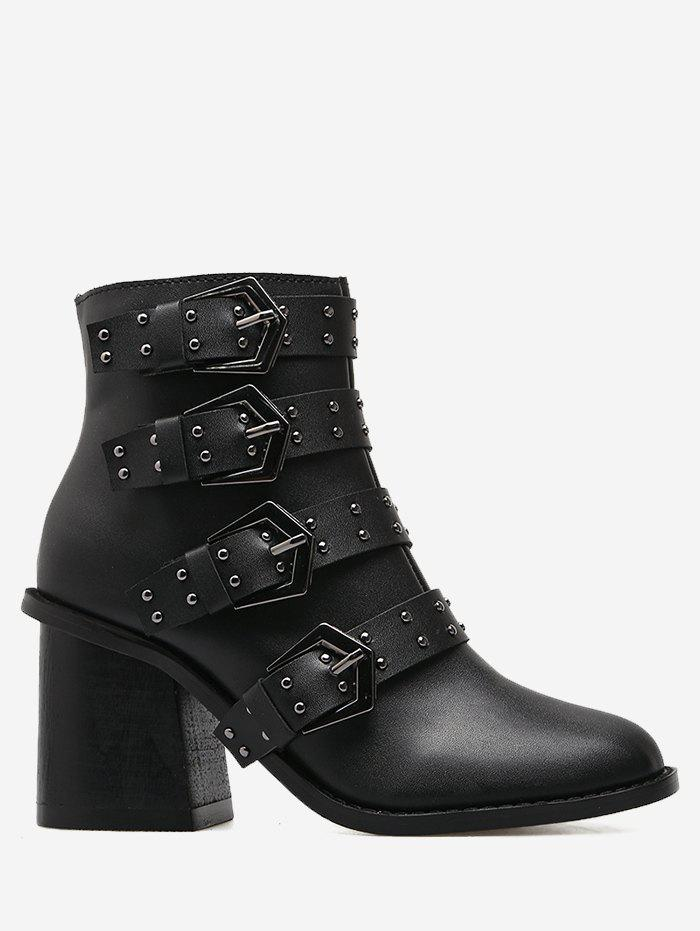 Studded Block Heel Ankle BootsSHOES &amp; BAGS<br><br>Size: 39; Color: BLACK; Gender: For Women; Boot Type: Motorcycle Boots; Season: Spring/Fall,Winter; Boot Height: Ankle; Toe Shape: Round Toe; Heel Type: Chunky Heel; Heel Height Range: High(3-3.99); Heel Height: 8CM; Pattern Type: Solid; Closure Type: Zip; Upper Material: PU; Weight: 1.1200kg; Package Contents: 1 x Boots (pair);