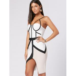 Front Slit Color Block Slip Bandage Dress - WHITE S
