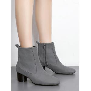 Chunky Heel Zipper Pointed Toe Boots -