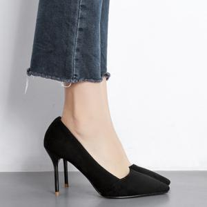 Faux Suede Basic High Heel Pumps - BLACK 34