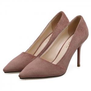 Faux Suede Basic Heel Pumps -