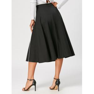 Color Trim A Line Midi Skirt - BLACK M