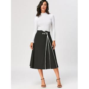 Color Trim A Line Midi Skirt - BLACK 2XL