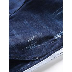 Selvedge Embellished Ripped Jeans - BLUE 36