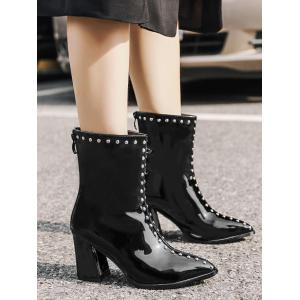 Pointed Toe Stud Patent Leather Ankle Boots - BLACK 35