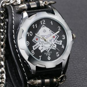 Gothic Style Chain Embellished Number Watch -