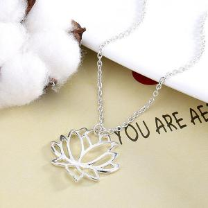 Hollow Out Carve Lotus Flower Charm Necklace -