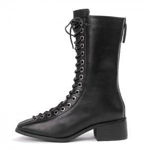 Zip Back Lacing Mid Calf Boots - Noir 37