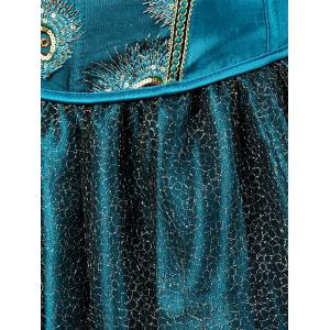 Layered Two Piece Corset Dress with Feather - LAKE BLUE 2XL