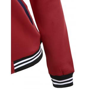 Zipper Fly Baseball Jacket - Rouge vineux  2XL