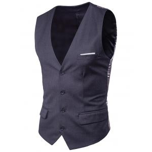 Satin Panel Single Breasted Belted Waistcoat - DEEP GRAY 6XL