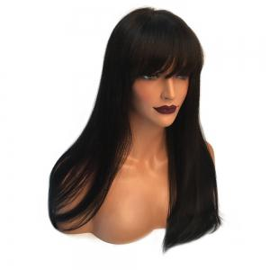 Long Full Bang Straight Real Hair Wig -