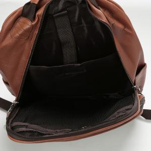 Faux Leather Double Pocket Backpack -