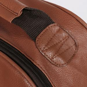 Faux Leather Double Pocket Backpack - BROWN