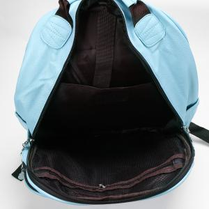 Faux Leather Double Pocket Backpack - LIGHT BLUE
