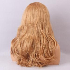 Long Deep Side Bang Fluffy Slightly Curly Human Hair Lace Front Hair Wig - BLONDE WITH AUBURN BROWN