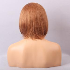 Short Inclined Bang Straight Asymmetric Bob Human Hair Lace Front Wig - AUBURN BROWN #30
