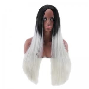 Long Center Parting Two Tone Straight Synthetic Wig - COLORMIX